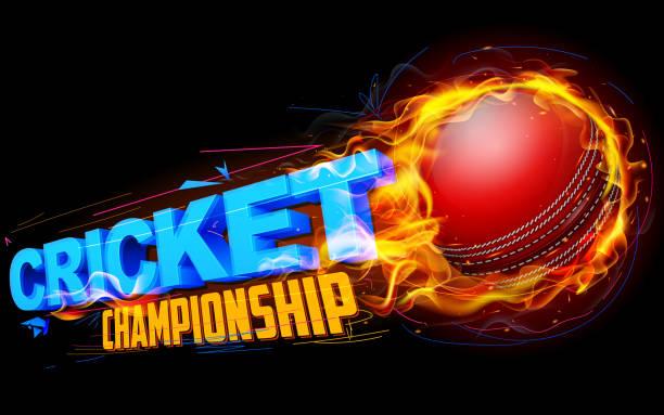 ilustraciones, imágenes clip art, dibujos animados e iconos de stock de ardientes bola de críquet - críquet