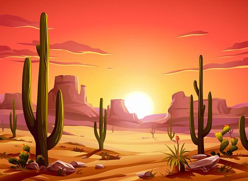 Fiery Desert Sunset