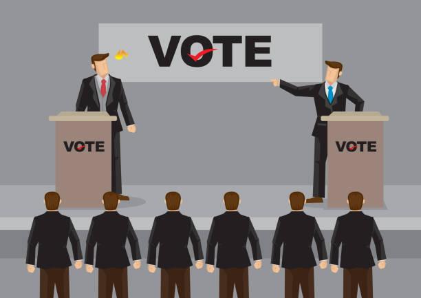 fiery election debate cartoon vector illustration - presidential debate stock illustrations
