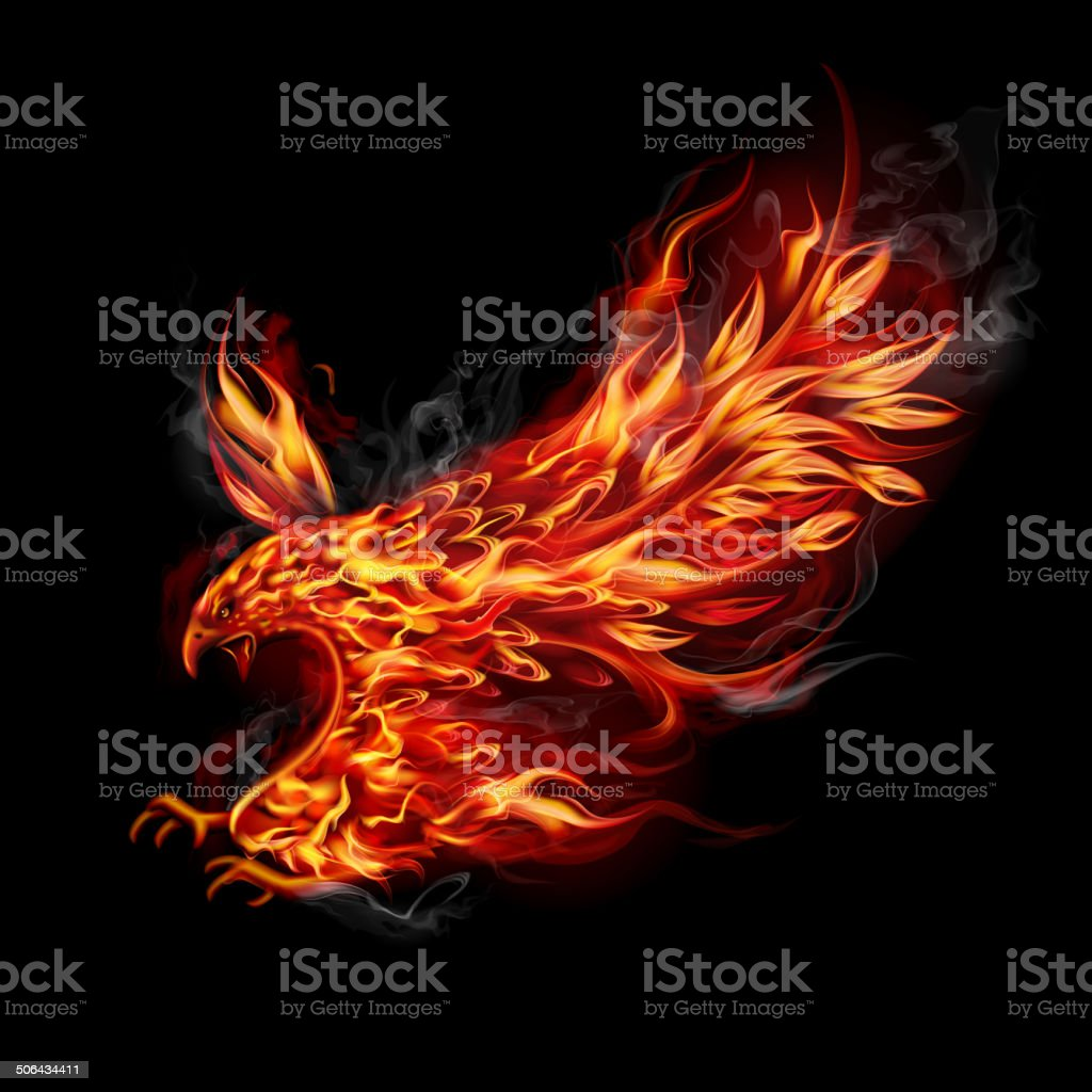 Fiery flying eagle vector art illustration