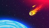 Fiery flying meteorite to Earth. Cosmic phenomenon dangerous to humanity.
