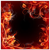 Frame Background With Roses from fire. EPS 10 file.