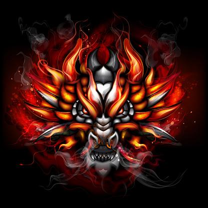 Fiery gothic dragon