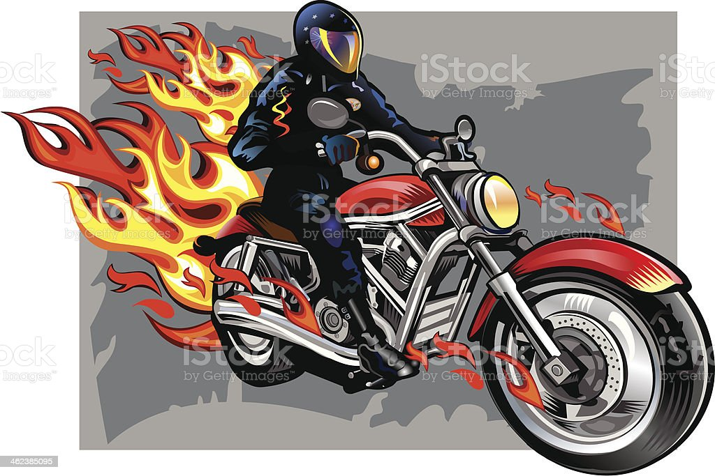 Fiery motorcycle Riders royalty-free stock vector art