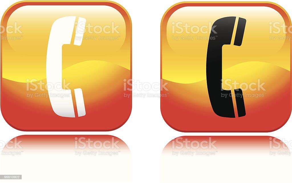 Fiery Phone Icon vector art illustration