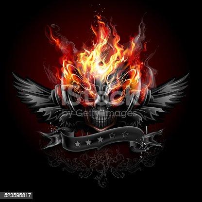 istock Fiery skull emblem 523595817