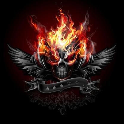 Fiery skull emblem