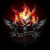 Fiery skull emblem wearing headphones. EPS 10.