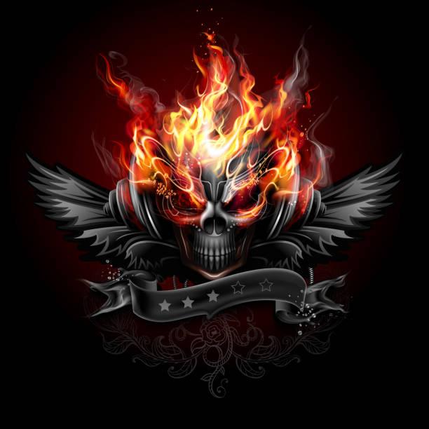 Fiery skull emblem vector art illustration