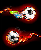 Soccer ball in flames and fire trail behind. 10 EPS.