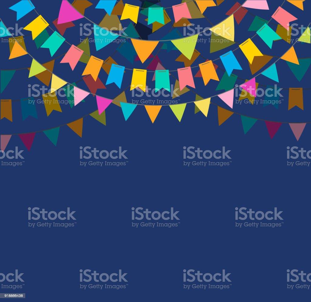 Diseño de banner y afiche de fiesta con banderas, decoraciones - ilustración de arte vectorial