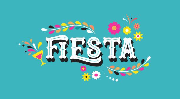 illustrations, cliparts, dessins animés et icônes de conception de bannières et affiches fiesta avec drapeaux, fleurs, décorations - carnaval
