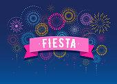 Fiesta, Fireworks and celebration background, winner, victory poster design
