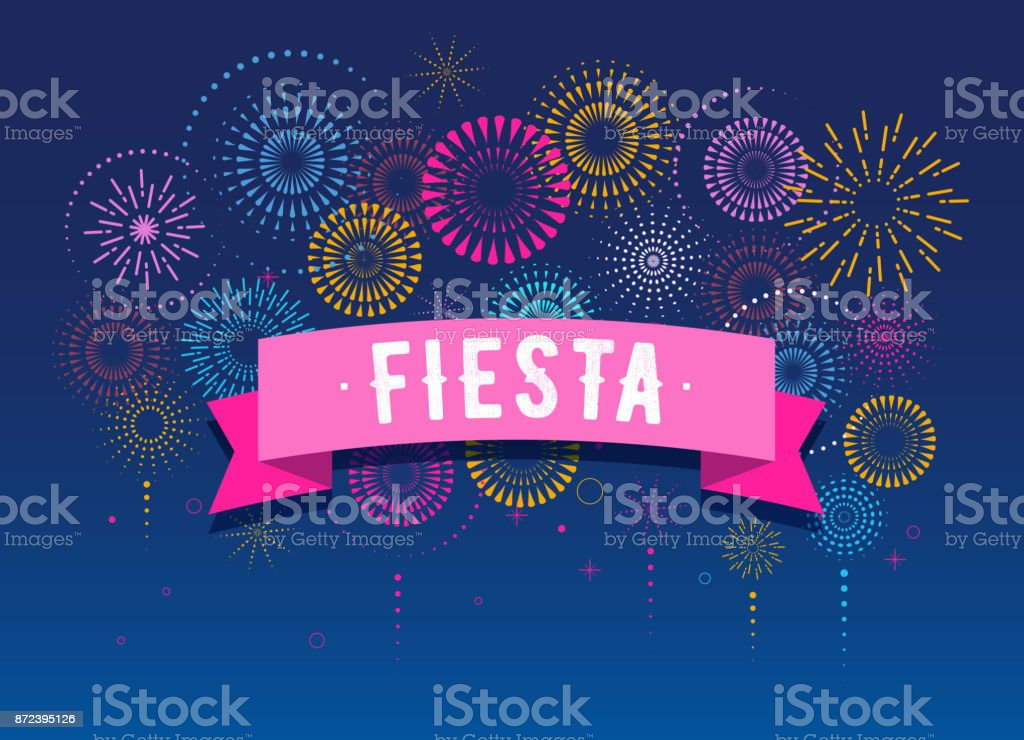 Fiesta, Fireworks and celebration background, winner, victory poster design vector art illustration