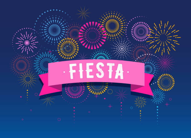 Fiesta, Fireworks and celebration background, winner, victory poster design Fiesta, Fireworks and celebration background, winner, victory poster, banner sparkler stock illustrations