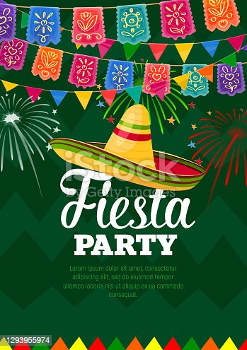 istock Fiesta mexican party celebration vector poster 1293955974