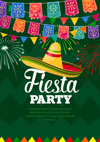 Fiesta mexican party celebration vector poster