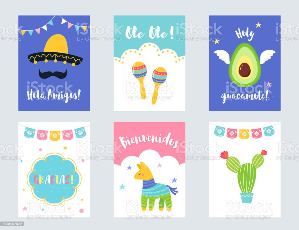 Fiesta Mexican Party Invitations And Cards Vector Set Stock