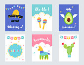 Fiesta Mexican Party Invitations and Cards Vector Set