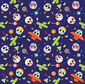 Fiesta Sugar Skulls Cinco de Mayo Seamless Vector Pattern