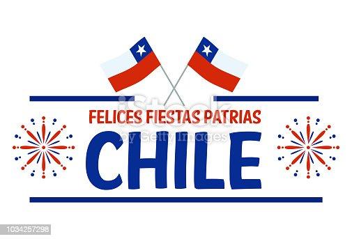 istock Fiestas Patrias - Independence Day celebration of Chile Spanish phrase. 1034257298