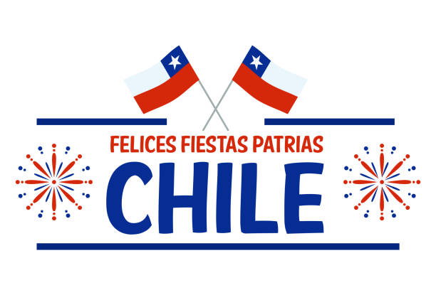 fiestas patrias - independence day feier chile spanische phrase. - flagge chile stock-grafiken, -clipart, -cartoons und -symbole