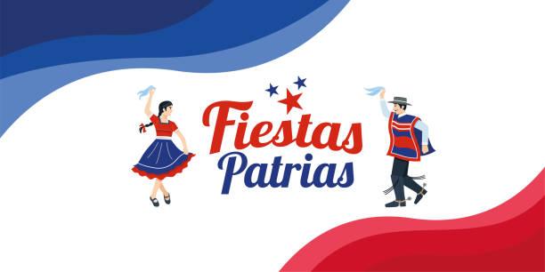 fiestas patrias - şili i̇spanyolca ifade bağımsızlık günü kutlama. - şili stock illustrations