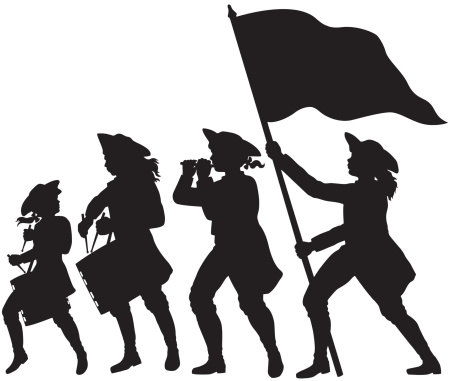 Fife, drums, and flag marching silhouettes