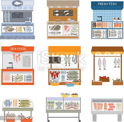 istock Fifh market vector fishstall fishstore illustration set of fishm 1139568214