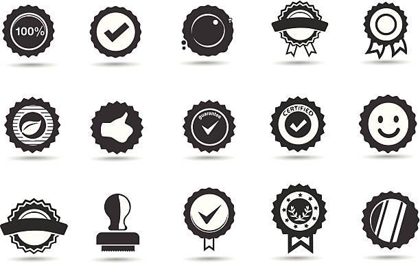 Quinze preto e branco ícones de emblemas e Focas - ilustração de arte em vetor