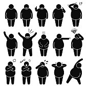 Fifteen black cartoon images of fat man with different poses