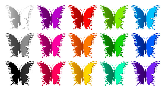 Fifteen colored butterflies with radial halftone