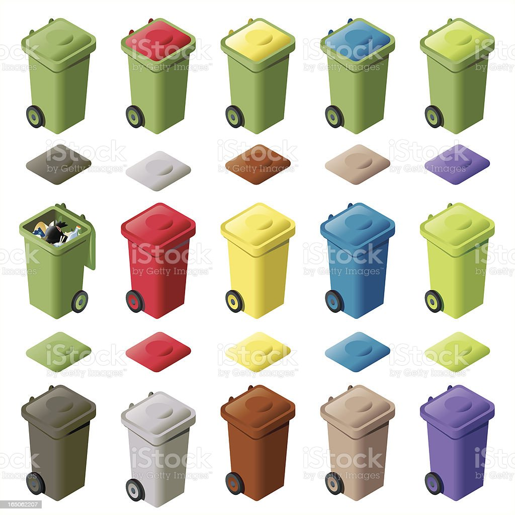 Fifteen Colored Wheelie Bins ISO royalty-free fifteen colored wheelie bins iso stock vector art & more images of alternative energy