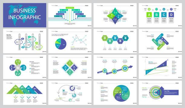 Economía quince diapositivas plantillas conjunto - ilustración de arte vectorial