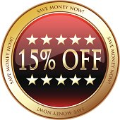 Fifteen percent off red advertisement medal with stars.