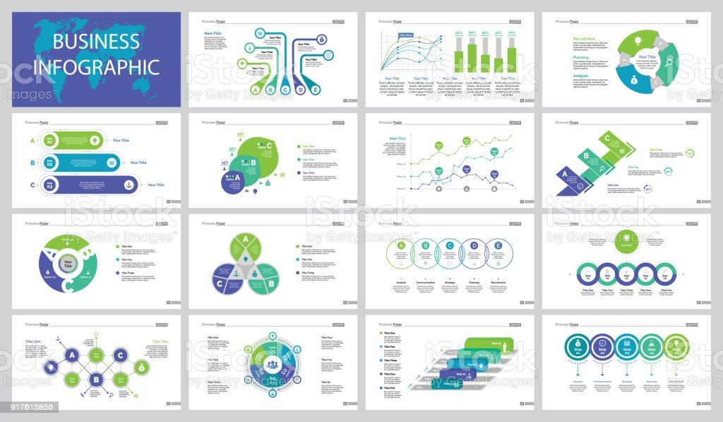Fifteen Slide Templates Set vector art illustration