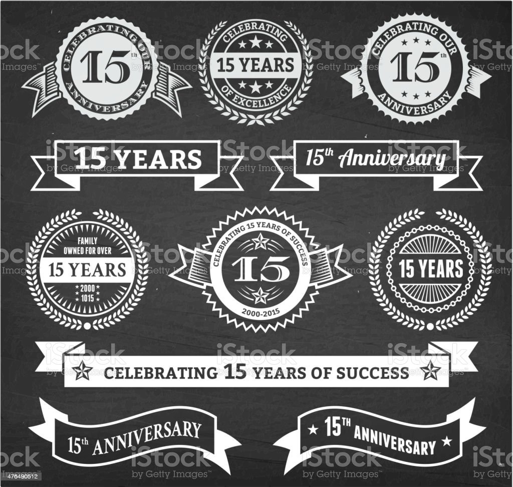 fifteen year anniversary hand-drawn chalkboard royalty free vector background vector art illustration