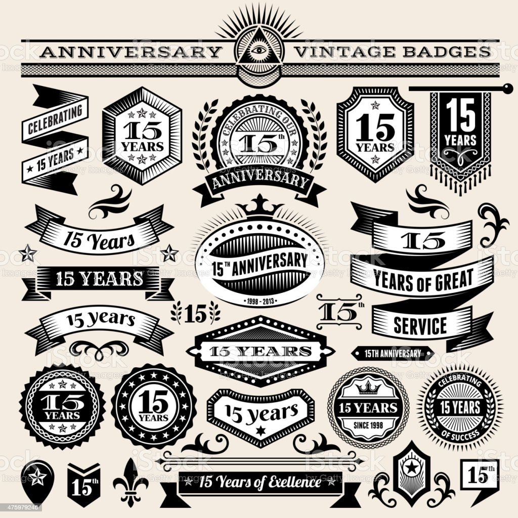 fifteen year anniversary hand-drawn royalty free vector background on paper vector art illustration