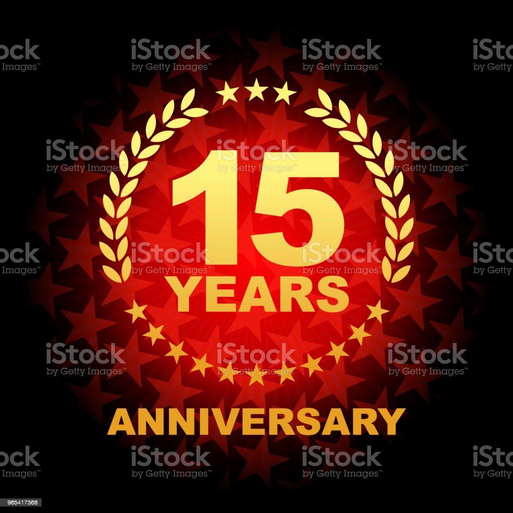 15 Jahre Jubiläum Symbol mit roter Hintergrundfarbe sternförmig - Lizenzfrei Abzeichen Vektorgrafik
