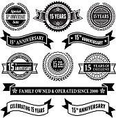 fifteen year anniversary vector badge set royalty free vector background