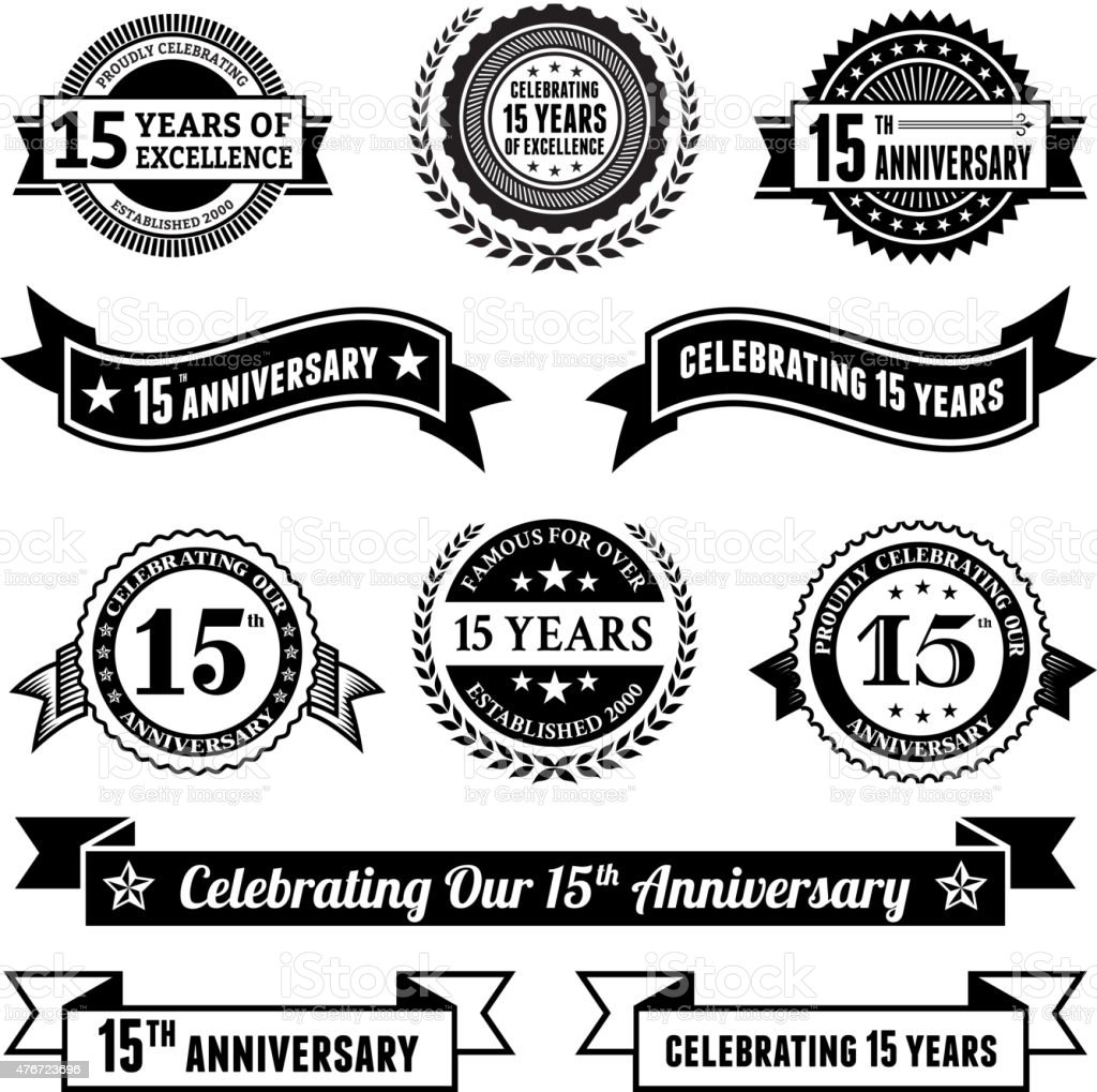fifteen year anniversary vector badge set royalty free vector background vector art illustration