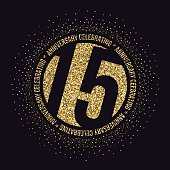Fifteen years anniversary celebration logotype. 15th anniversary golden logo.