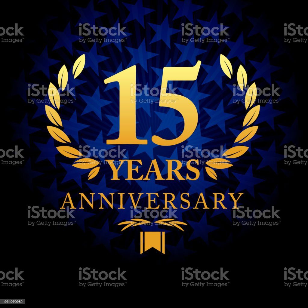 Fifteen years anniversary icon with blue color star shape background - Royalty-free Anniversary stock vector