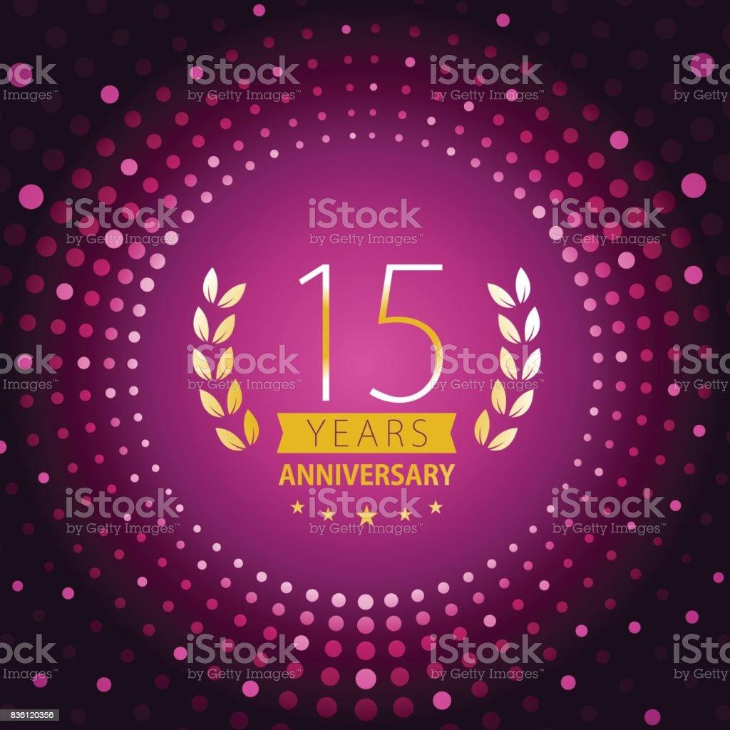 Fifteen years anniversary icon with purple color background - illustrazione arte vettoriale