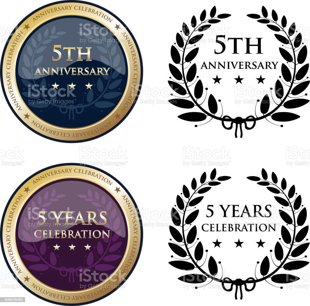 Fifth Anniversary Celebration Gold Medals vector art illustration