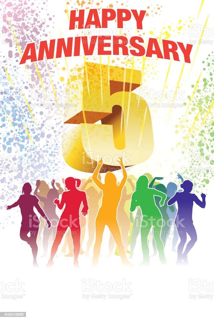 Fifth anniversary vector art illustration