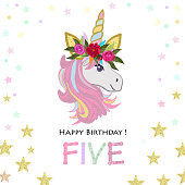 Fifth birthday greeting. Five text. Magical Unicorn Birthday invitation. Party invitation greeting card