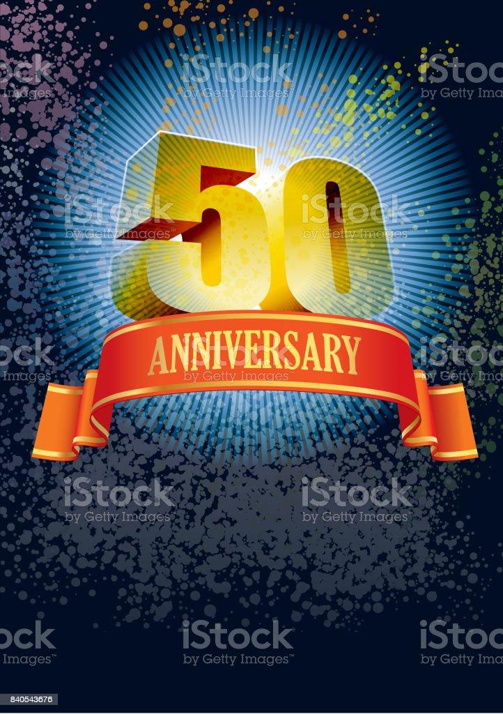 Fiftieth anniversary vector art illustration