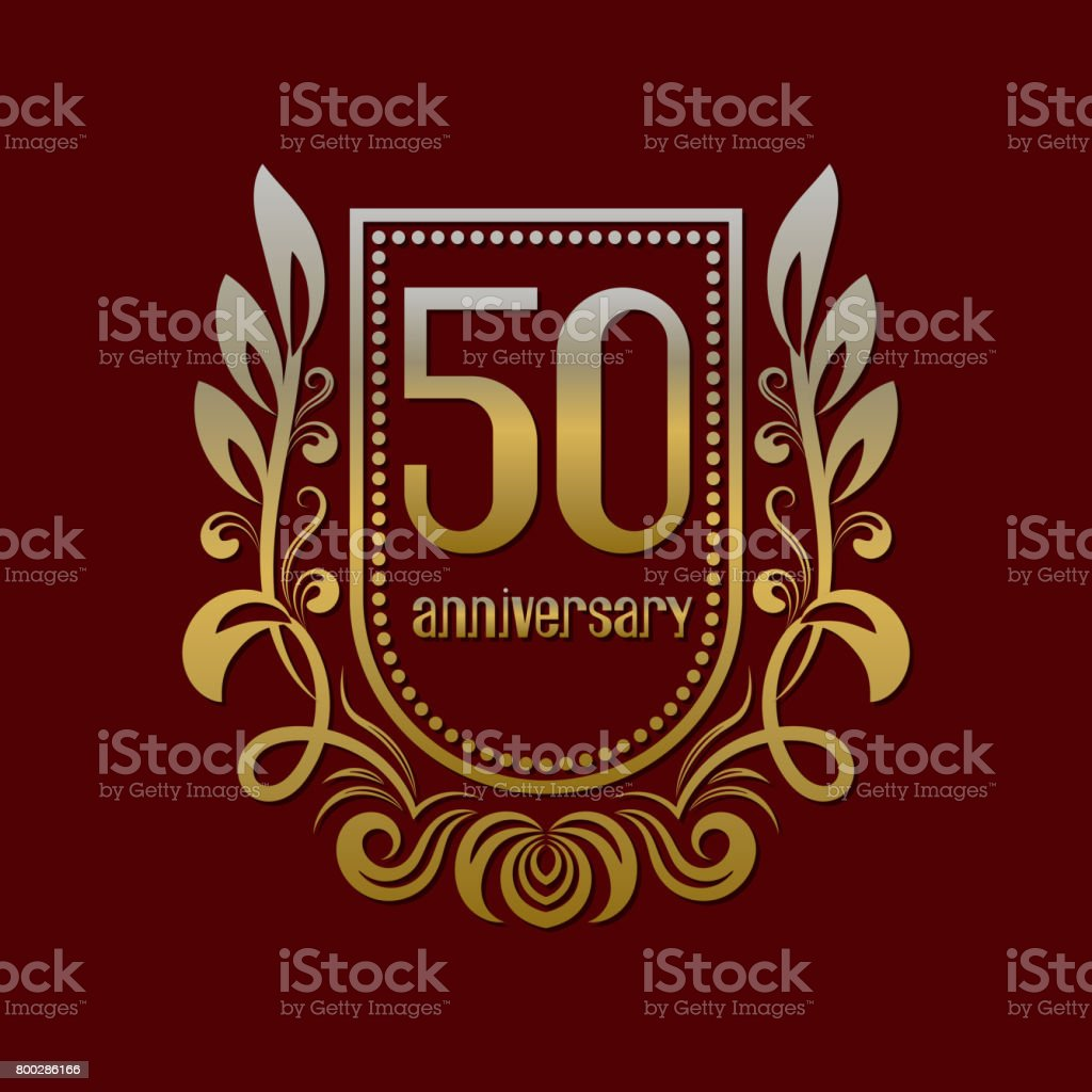 Fiftieth anniversary vintage symbol. Golden emblem with numbers on shield in wreath. vector art illustration