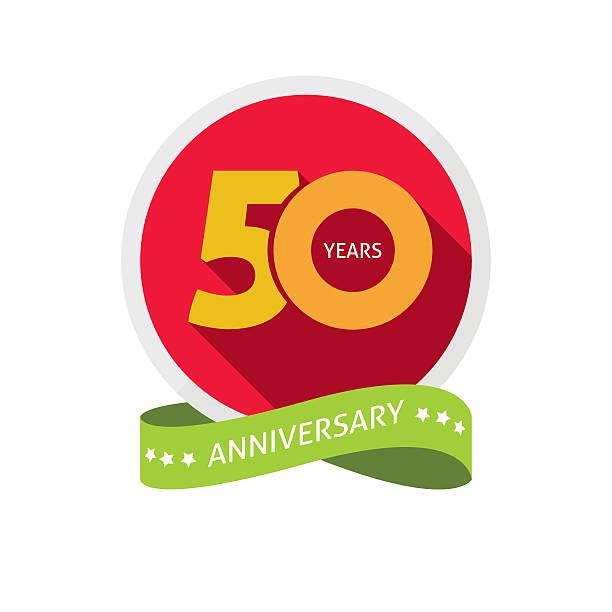 Fiftieth years anniversary logo, 50 year birthday sticker label - ilustração de arte em vetor